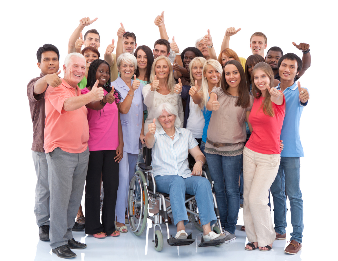 Group of people with visible and invisible disabilities giving thumbs up sign.