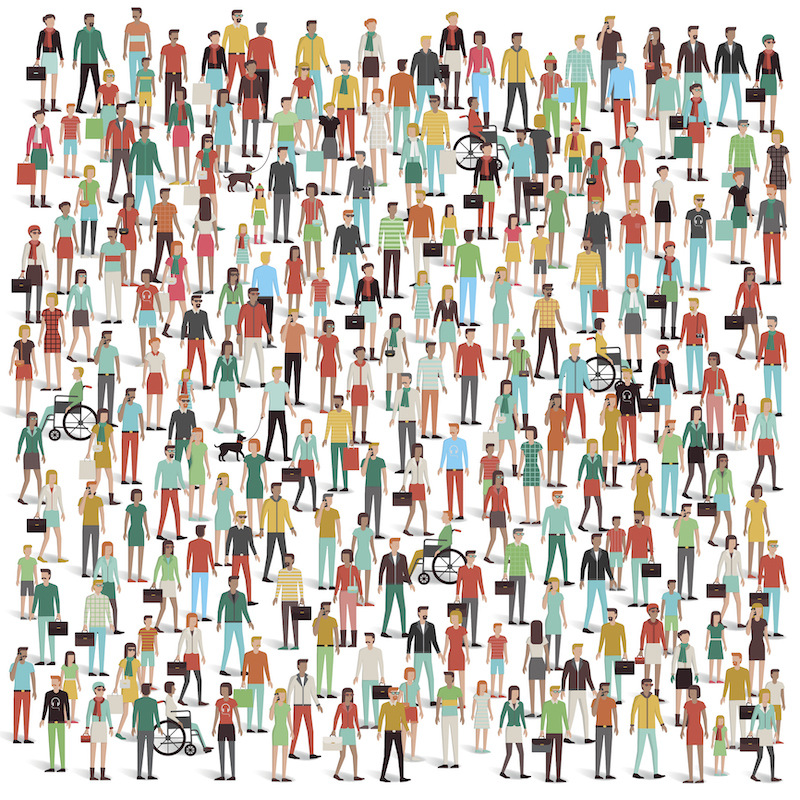 Graphic showing large group of people, some with disabilities.