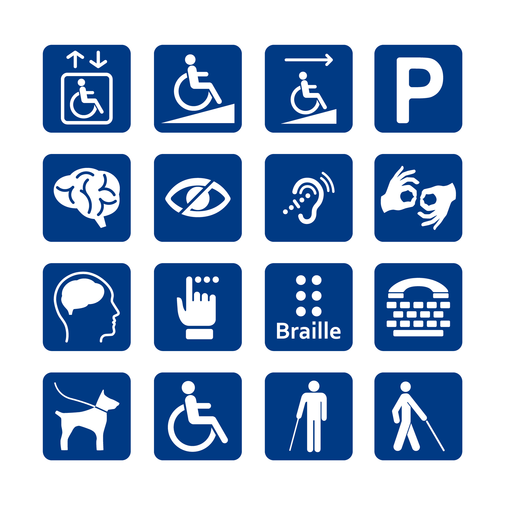 Icons representing several different types of disabilities.