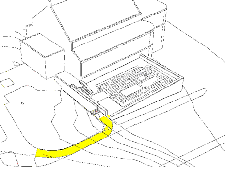 Diagram of walkway leading to Courtyard.